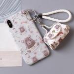 เคส iPhone X ซิลิโคนหมีน้อยพร้อมที่ห้อยและกระเป๋าเก็บสายหูฟัง ราคาถูก
