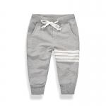 กางเกงขายาวสีเทาแต่งแถบสีขาวที่ขา [size 3y-4y-5y-6y-7y]