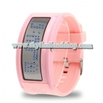 นาฬิกาแฟชั่น LED Mirror Blue LED Watch with Advertise Display / Silicon Watchband (Pink)