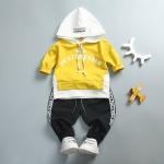 ชุดเซตเสื้อกันหนาวสีเหลืองมีฮู้ด+กางเกงขายาวสีดำ [size 1y-2y-3y]