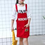 เสื้อ+เอี๊ยมกระโปรง สีแดง แพ็ค 5 ชุด ไซส์ 120-130-140-150-160 (เลือกไซส์ได้)