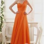 พร้อมส่ง ชุดราตรียาว เกาะอก ไหล่เดียว ผ้าชีฟอง สีส้ม Tangerine จับเดรปสวยช่วงอก