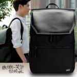 กระเป๋าเป้สะพายหนังผสมไนลอน แบบ หยางหยาง (สีดำ)