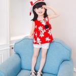 ชุดเซตเสื้อลายดอกไม้สีแดง+กางเกงลูกไม้สีขาว+เข็มกลัดดอกไม้+หมวกพร้อมผ้าคาดสีแดง [size 2y-3y-4y-5y-6y]