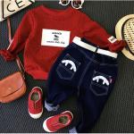 เสื้อ+กางเกง สีแดง แพ็ค 5 ชุด ไซส์ 90-100-110-120-130 (เลือกไซส์ได้)