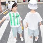 เสื้อ+กางเกง สีเขียว แพ็ค 5 ชุด ไซส์ 100-110-120-130-140 (เลือกไซส์ได้)