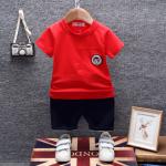 เสื้อ+กางเกง สีแดง แพ็ค 4 ชุด ไซส์ 80-90-100-110