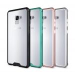 เคส Samsung A8+ 2018 (A8 Plus 2018) พลาสติกโปร่งใสขอบสีพาสเทล สวยงามมาก ราคาถูก