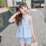 เสื้อ+กางเกง สีฟ้า แพ็ค 5 ชุด ไซส์ 80-90-100-110-120