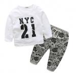 เสื้อ+กางเกง สีขาว แพ็ค 4 ชุด ไซส์ 70-80-90-100 (เลือกไซส์ได้)