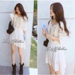 Lanvin Petite Cross-stitch Mini dress, Partysu Korea มินิเดรสปักครอสติส แบรนด์ Partysu Korea