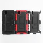 เคส Sony Xperia T2 Ultra / T2 Ultra Dual เคสกันกระแทก สวยๆ ดุๆ เท่ๆ แนวถึกๆ อึดๆ แนวทหาร เดินป่า ผจญภัย adventure เคสแยกประกอบ 3 ชิ้น ชั้นในเป็นยางซิลิโคนกันกระแทก ครอบด้วยแผ่นพลาสติกอีก1 ชั้น กาง-หุบขาตั้งได้ มีปลอกฝาหน้าแบบสวมสไลด์ ใช้หนีบเข็มขัดเพื่อพก