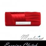 พร้อมส่ง Evening Clutch กระเป๋าออกงาน สีแดง ทรงกระบอก จับเดรปพร้อมแต่งคริสตัลหรู ใส่ของได้เยอะจุใจ มาพร้อมสายโซ่ยาว