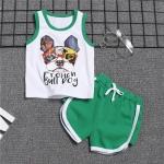 ชุดเซตเสื้อกล้ามลายน้องหมา+กางเกงสีเขียว [size 6m-1y-2y-3y]
