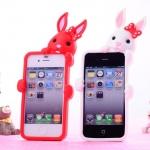 case iphone 4/4s เคสไอโฟน4/4s เคสซิลิโคน 3D กระต่ายเกาะอยู่หลังเคสหูแหลมๆ น่ารักๆ