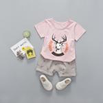 เสื้อ+กางเกง สีชมพู แพ็ค 4 ชุด ไซส์ 80-90-100-110