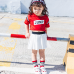 เสื้อ+กระโปรง สีแดง แพ็ค 5ชุด ไซส์ 80cm-90cm-100cm-110cm-120cm