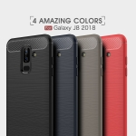 เคส Samsung J8 2018 ยางซิลิโคนนิ่ม ทำลายคล้ายโลหะหัวท้ายมีลายเคฟล่ากันลื่น สวยๆ Armored Carbon Fiber