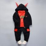 ชุดเซตเสื้อกันหนาวสีดำ+เสื้อแขนยาวสีแดง+กางเกงสีดำ [size 1y-2y-3y-4y]