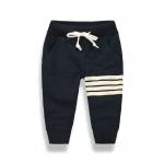 กางเกงขายาวสีกรมท่าแต่งแถบสีขาวที่ขา [size 3y-4y-5y-6y-7y]