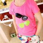 เสื้อลายแว่นตา สีโรส แพ็ค 5 ชุด ไซส์ 90-100-110-120-130