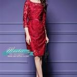 พร้อมส่ง ชุดเดรส/ชุดออกงาน ผ้าเกาหลี ผ้าโปร่งปักแขนยาวลายดอกไม้ สีแดง (ซิปหลัง) *** เหลือเฉพาะไซส์ M , XL , 4XL ***