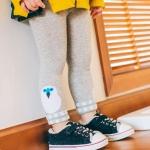 กางเกงเลคกิ้งสีเทาลายนกฮูกสีขาวที่ปลายขา [size 1y-2y-3y]