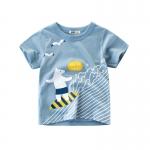 เสื้อแขนสั้นสีฟ้าลายน้องหมีโต้คลื่น [size 2y-3y-4y-5y-6y-7y]