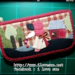 กระเป๋าใบยาว Applique โทนแดง - สั่งทำ