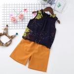 ชุดเซตเสื้อแขนกุดลายดอกไม้สีกรมท่า+กางเกงสีน้ำตาล [size 2y-3y-4y-5y-6y]