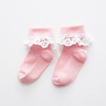 ถุงเท้าสั้น สีชมพู แพ็ค 10 คู่ ไซส์ ประมาณ 7-10 ปี