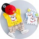 ชุดเซตเสื้อสีเหลืองลายน้องหมา+กางเกงสีน้ำตาล [size 6m-1y-2y-3y]