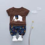 ชุดเซตเสื้อแขนสั้นสีน้ำตาลลายช้าง+กางเกงลายใบไม้สีกรมท่า [size 6m-1y-2y-3y]