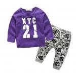 เสื้อ+กางเกง สีม่วง แพ็ค 4 ชุด ไซส์ 70-80-90-100 (เลือกไซส์ได้)