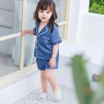 เสื้อ+กางเกง สีน้ำเงิน แพ็ค 5ชุด ไซส์ 80cm-90cm-100cm-110cm-120cm