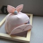 หมวกเด็กลายดาวสีโอลโรสแต่งหูกระต่าย
