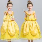 ชุดเจ้าหญิง (ไม่รวมถุงมือ) สีเหลือง แพ็ค 5ชุด ไซส์ 110-120-130-140-150 (เลือกไซส์ได้)