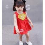 ชุดเดรสแขนกุดสีแดงแต่งหัวใจสีเหลืองที่อก [size 6m-1y-2y-3y]