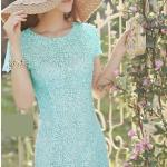 พร้อมส่ง ชุดเดรสลูกไม้ (สั้น) สีฟ้า ลูกไม้ลายดอก Daisy ปักมุกเพิ่มความหวาน (เหลือเฉพาะไซส์ S )