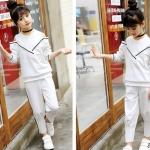 เสื้อ+กางเกง สีขาว แพ็ค 6 ชุด ไซส์ 110-120-130-140-150-160