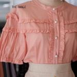 เสื้อระบายกระดุมมุก สีชมพู
