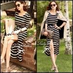Jersey Stripe Slip Midi Dress มิดี้เดรส เดรสยาวผ้ายืดลายริ้วสีครีม-ดำ พร้อมเข็มขัดสีดำ
