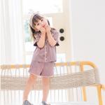 เสื้อ+กางเกง สีม่วง แพ็ค 5ชุด ไซส์ 80cm-90cm-100cm-110cm-120cm
