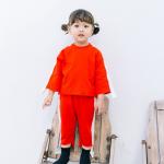 เสื้อ+กางเกง สีแดง แพ็ค 5ชุด ไซส์ 80cm-90cm-100cm-110cm-120cm