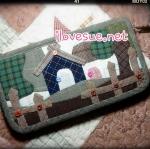 กระเป๋าเงินใบยาว ลายบ้าน ผ้าทอญี่ปุ่น งาน Applique -Pre Order ราคานี้ส่งฟรี