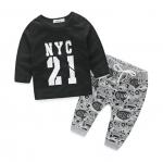 เสื้อ+กางเกง สีดำ แพ็ค 4 ชุด ไซส์ 70-80-90-100 (เลือกไซส์ได้)