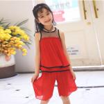 เสื้อ+กางเกง สีแดง เเพ็ค 6 ชุด ไซส์ 110-120-130-140-150-160