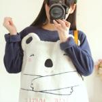[พร้อมส่ง] LP4967 เสื้อสเวเตอร์กันหนาว แบบสวม ลายหมีน้อยแบบนูน งานน่ารัก