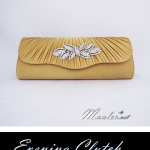 Sale พร้อมส่ง Evening Clutch กระเป๋าออกงาน สีเหลืองทอง ฝาหยัก จับจีบแต่งคริสตัลรูปใบไม้