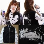 เสื้อเบสบอลแฟชั่นเกาหลี Taeyeon SNSD (ปลาฉลาม)